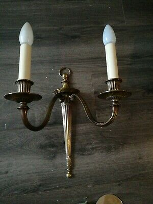 Vintage Art Deco Brass Twin Branch Wall Lights Sconces Mid 20th Century