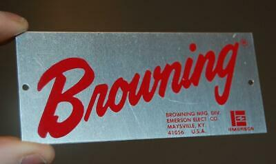 Vintage Browning Emerson Electric Ky. Metal Advertising Tag Sign