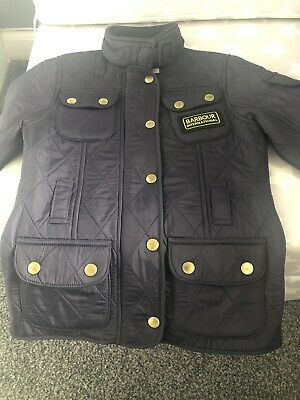 Girls Barbour International Navy Blue Quilted Jacket Coat Size Xs Approx Age 4/5