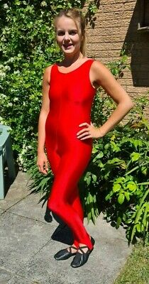 Red Shiny Lycra Sleeveless Catsuit Dance Unitard Spandex Small UK 10 34""