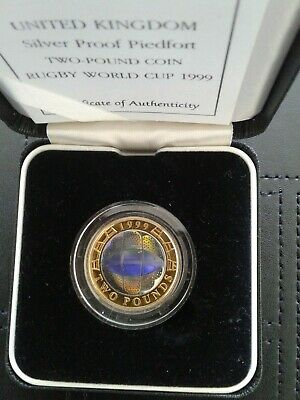 Royal Mint 1999 Rugby World Cup Silver Proof Piedfort Hologram £2 Coin