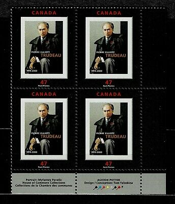 Canada - ML#862 - Pierre Elliot Trudeau, UR Pl Block Scott #'s 1909 MNH