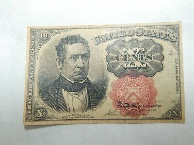 1874 10 Cents   Fractional Currency Good Grade Attractive Note > Free Shipping