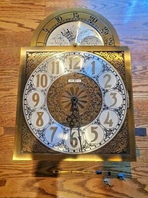 Complete Howard Miller 155 Grandfather Triple Chime Clock Dial Face Movement
