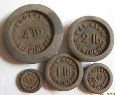 Cast Iron weights Pooley and Avery Birmingham, 4lb, 2lbs 1lb 8 oz 4 oz