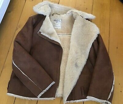 Zara aviator flight jacket sheepskin 9 - 10 years girls winter