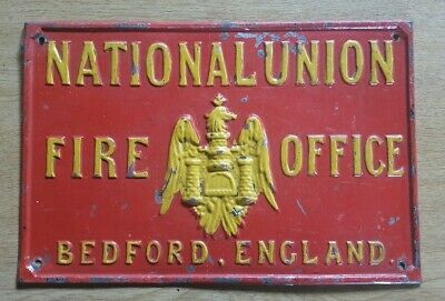 1900'S National Union Insurance Office Firemark Plaque Sign Fire Mark