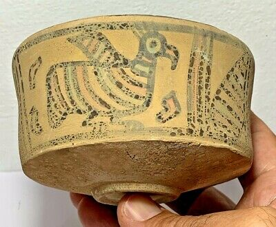 ANCIENT INDUS VALLEY HARAPPAN TERRACOTTA VESSEL WITH PATTERN MOTIFS 2000 BC 93mm