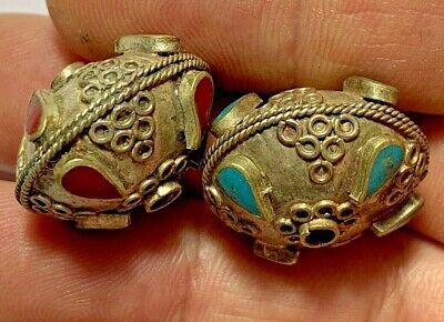 LOT OF 2 pcs HELLENIC PERIOD NEAR EAST SILVERED DECORATED  BEADS CA 300-50 BC
