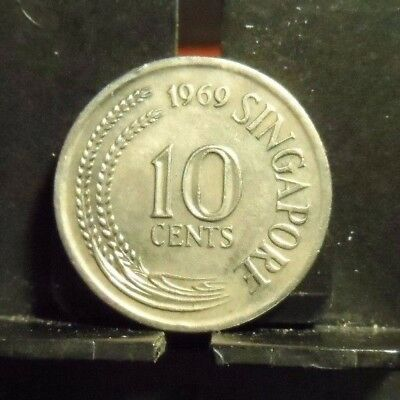 Circulated 1969 10 Cents Singapore Coin (90517)1