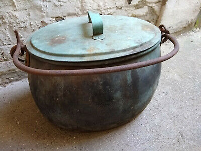 Large Antique Copper Cooking Pot - Lidded Pan Inglenook Fireplace Iron Vintage