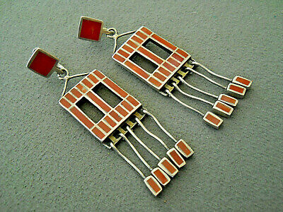Old Native American Coral Square Channel Inlay Sterling Silver Windows Earrings