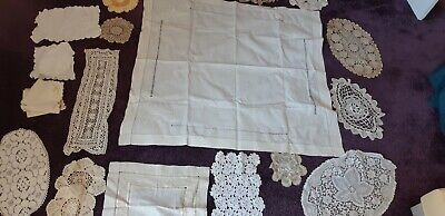 job lot 24 x vintage linen and lace items