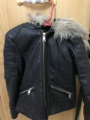 Girls River Island Leather Jacket Age 5 Black With Hood