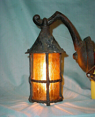 """Arts Craft Cast Iron Porch Light Lamp Sconce Forged Gothic Spanish Mission 11"""""""
