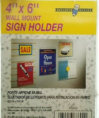 Wall Mount Sign Display Holder 4 x 6 For Store Office Acrylic Clear Lot Of 4 NEW