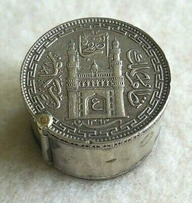 Vintage Silver Coin Snuff/Pill Box India Hyderabad Silver 1/2 Rupees~Trench Art?