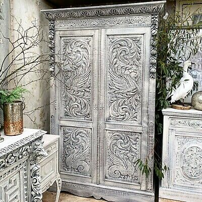 Huge Continental Oak Antique Heavily Carved  Armoire wardrobe