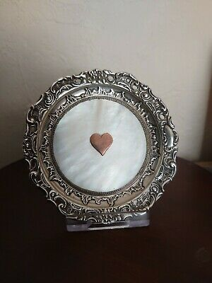 Solid Silver Rose Gold Mother Of Pearl Pin Tray Dish Birm 1892 Levi & Salaman