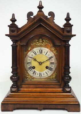 Original Antique Bracket Clock Camerer Kuss & Co Mahogany Carved  Mantel Clock