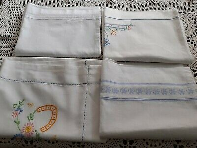 4 Vintage Embroidered/Plain Pillowcases.