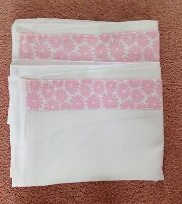 Vintage White Cotton Pillowcase Set With Pink Daisy Border