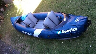 Sevylor Riviera Inflatable Kayak + pump +2 paddles + 2 kids lifejackets, Canoe