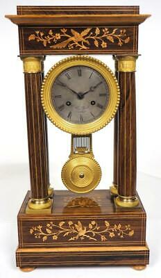 Antique French Rosewood & Satinwood Inlay 8 Day Regulator Portico Mantel Clock