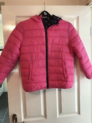 Girls Reversable Coat. Age 11-12 Years. Pink/Blue With Pink Stars