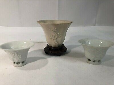 A Collection of Three Antique Chinese Blanc De Chine Libation Cups