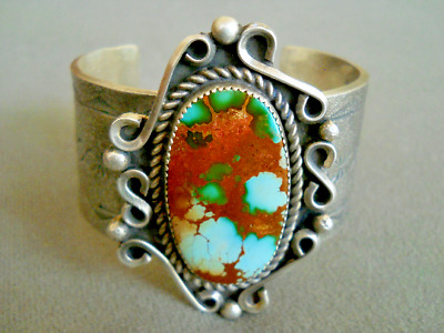 Native American Navajo Royston Turquoise Heavy-Gauge Sterling Silver Tufa Cast