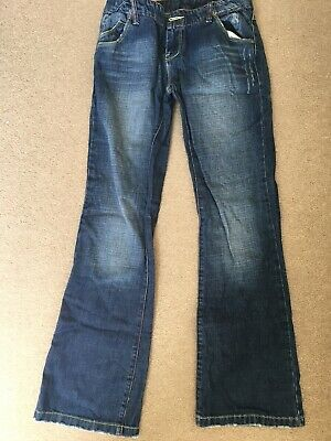 Womens / Ladies / Teen Girls Distressed Hooch Blue Denim Jeans Size 8R Bootcut