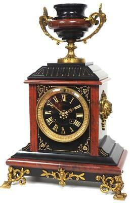 Antique French Slate Ormolu Mantel Clock 8 Day Red & Black Marble Mantle Clock