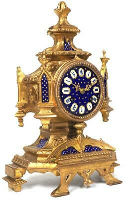 Antique French Sevres Mantel Clock 8 Day Carved Bell Striking Mantle Clock C1880