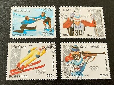 Laos 🇱🇦 1989 & 1991 Olympic Games - 4 canceled stamps