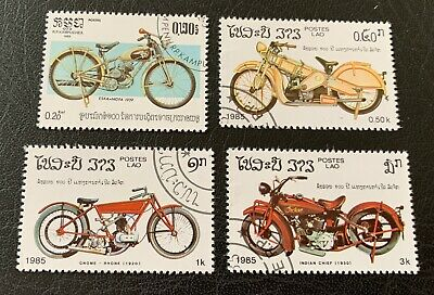 Laos 🇱🇦 1985 bikes - 4 canceled stamps - Michel No. 824