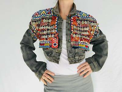 Vintage Balochi Repurposed Denim Jacket. Size M. Cropped. Embroidered Beaded.