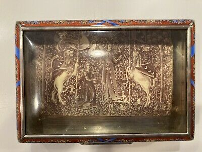 Antique Sterling Silver Guilloche Box With Painted Scene Insert