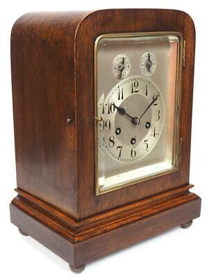 Oak Cased Junghans Musical Bracket Clock Art Deco Westminster Chime Mantel Clock