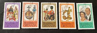 Grenada 1977 Silver Jubilee - 5 canceled stamps - Michel No. 822-826