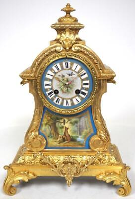 Antique French Sevres Mantel Clock 8 Day Ormolu Bell Striking Mantle Clock C1870