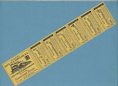 1950's Santa Fe Disneyland R. R. Complete Ticket Strip, 7 parts, Disneyland, ex