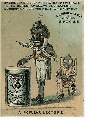 Black Victorian Trade Card - C.e. Andrews & Co. Pure Spices - Milwaukee Wi / Wis
