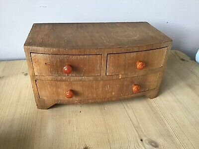 Wooden Miniature Chest Of Drawers Vintage Limed Oak Veneer Jewellery Box Antique