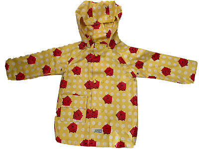 Blue Fish Girls Raincoat Yellow/White Polkadots/ Red Roses Age 18-24 Months VGC