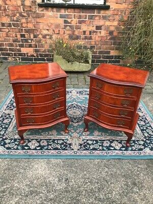 Pair Of Georgian/Regency Style Serpentine Bedside Chests, Lamp Tables, Stunning