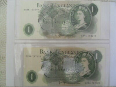 2 X CRISP Bank of England 1 pound notes PAGE & FFORDE - Ex Condition
