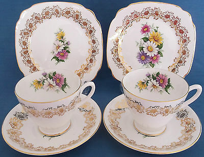 Vintage Windsor China Floral Gold Chintz Two Cups Saucers Plates Trios Wedding