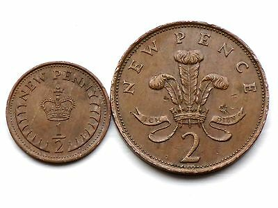 1978-1/2 HALF NEW Penny,  1978- Two NEW Pence Coins GOOD DETAILS