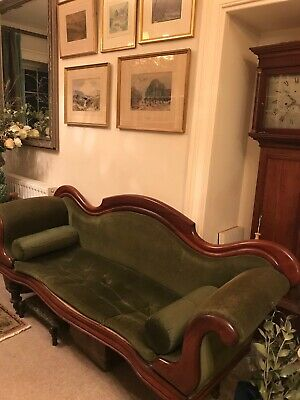 Antique Mid Victorian Mahogany Large Chaise Longue / Double Ended Sofa / Settle